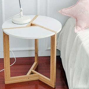 대나무 원형 사이드 테이블 보조협탁