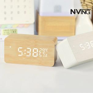 디지털 탁상시계 LED 우드시계